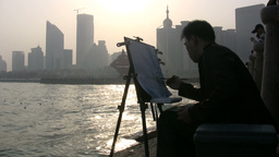 Painting at sunset in China Footage