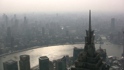 Shanghai skyline filled with smog Footage