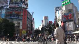 Shibuya crossing and advertising in Tokyo Japan Footage
