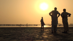 Silhouettes at Karachi beach during sunset Footage