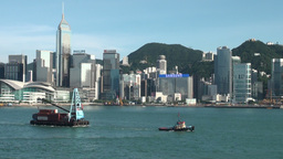 Towboat and Hong Kong skyline Footage