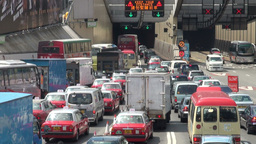 Traffic jam before Hong Kong tunnel Footage