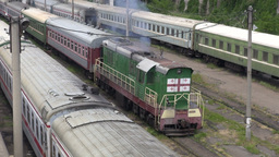 Train and locomotive in Georgia, South Caucasus Footage