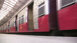 Train Arrives At Main Station In Mumbai India stock footage