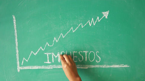 Taxes Chalk Diagram Drawing (In Spanish) stock footage