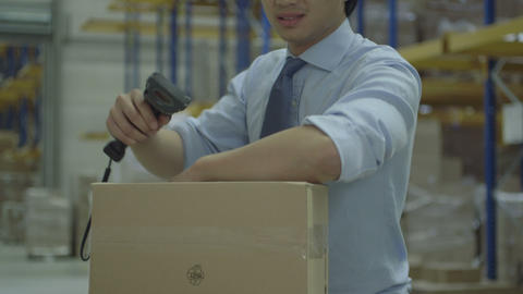 Man Standing In Warehouse stock footage