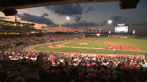 Baseball Game Stadium Dusk stock footage