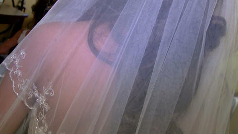 Bride IN Gown Pan Down Dress stock footage