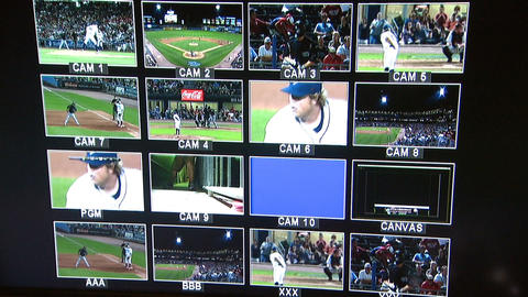 Monitors In Studio Basebal Game Footage