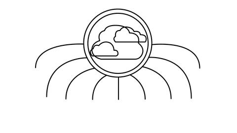 Cloud Computing Concept Black and White Animation