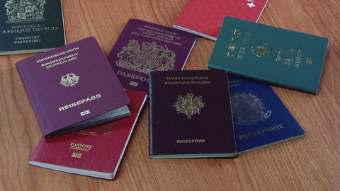 Many_Nations_Passports stock footage