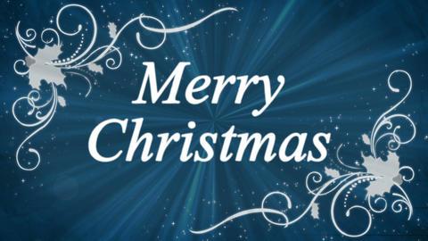 Merry Christmas Holly Burst Blue Background Animation
