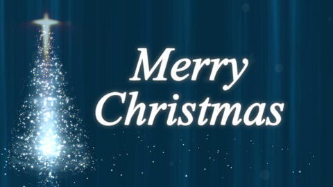 Merry Christmas Tree Stars Blue Animation