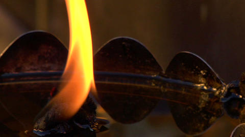 Oil Flame Very Close Footage