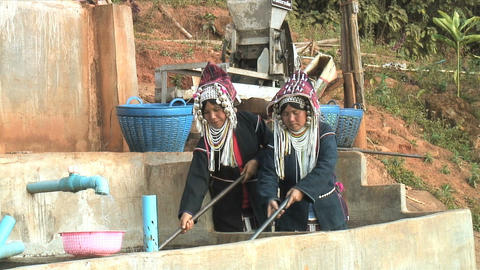Two Akha Women Working Footage