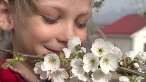 Girl and Flowers Cherry HD Footage