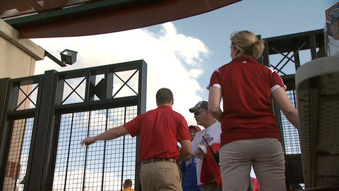 People Entering Gate at a Baseball game Footage