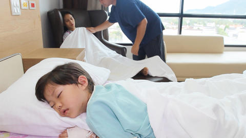 Father Take Care Family In The Hospital stock footage