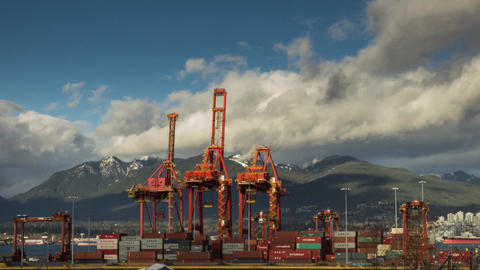Cloudy Afternoon At A Shipping Terminal stock footage