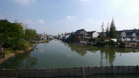 Traditional Chinese houses in Zhujiajiao Water Town,China Animation