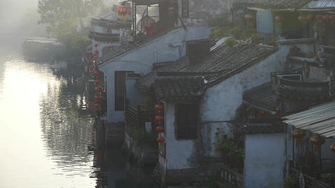 Traditional Chinese houses in XiTang Water Town,at dusk,shanghai,China Animation