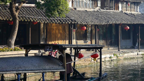 Traditional Chinese houses in XiTang Water Town,fishermen boating,shanghai Animation