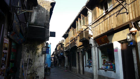 Traditional Chinese old town houses & street in the morning,shanghai,China Animation