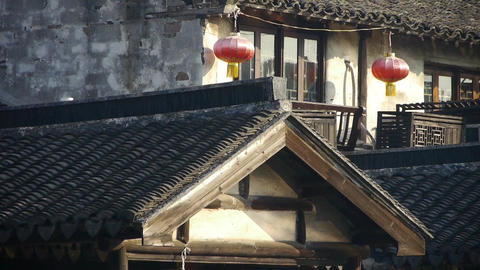 China ancient architecture hanging red lanterns in XiTang Water Town,shanghai Animation