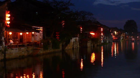 Traditional Chinese houses in XiTang Water Town at night,shanghai,China Animation