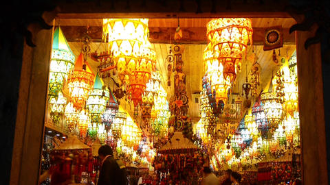 Golden Lantern Shop At Night,tourist Sketch,shangh stock footage