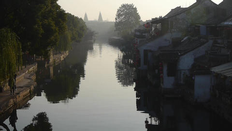 Traditional Chinese houses in XiTang Water Town,in the morning,shanghai,China Animation