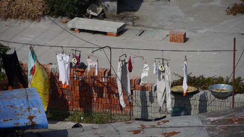 clothes drying on clothesline countryside Animation
