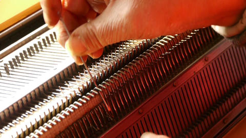 Modern Machine For Knitting On Weaving Mill stock footage
