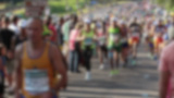 Defocused Shot In Slow Motion Of Athletes Running  stock footage