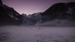 People By The Frozen Joffrey Lake In BC stock footage