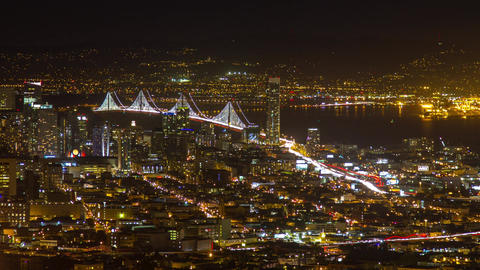 Bay bridge night traffic Footage