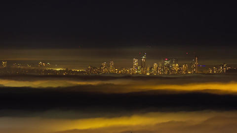 Fog covers Vancouver downtown night view Footage