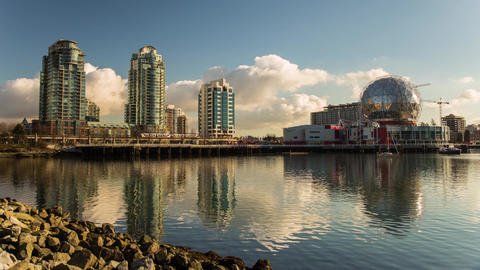 Clouds Formation By False Creek Science World stock footage