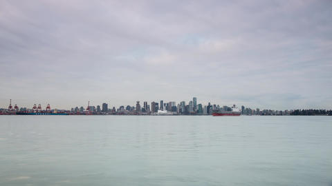 Harbour Traffic With Vancouver Skyline Background stock footage