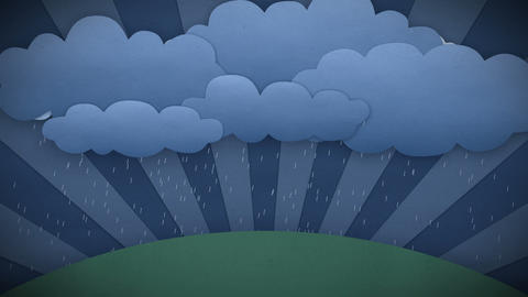 Changing Weather. Rain And Sun. Cartoon Style. HD  stock footage