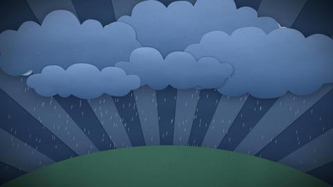 Changing Weather. Rain and Sun. Cartoon style. HD  Animation