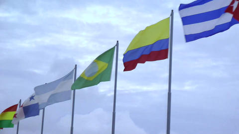 America Nations Flags Against The Sky stock footage