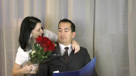 Bad Surprise. Woman preparing surprise to a man si Live Action