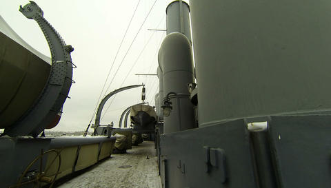 Ship's Deck Of The Cruiser Aurora 2.7K stock footage