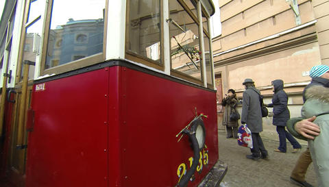 Tram Blockade Of Leningrad 2.7K stock footage