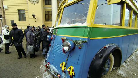 Trolleybus blockade of Leningrad 2.7K Footage