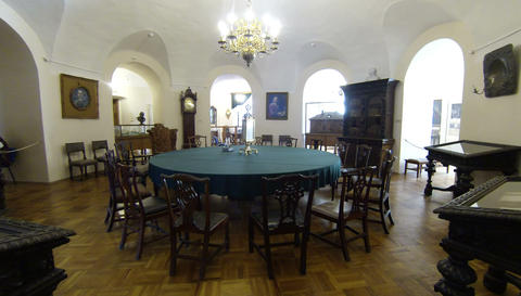Round table for meetings. Kunstkamera. Saint-Peter Footage