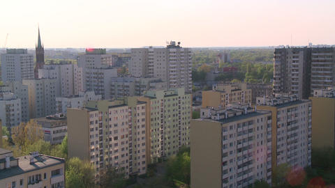 Flats in blocks - East Europe - Poland - Warsaw Live Action