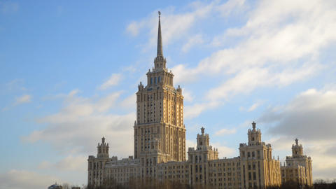 MOSCOW, RUSSIA Winter view of Ukraina hotel Footage