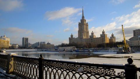 MOSCOW, RUSSIA Winter view of Ukraina hotel ビデオ